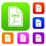 File DWG set collection. File DWG set icon in different colors isolated vector illustration. Premium collection Royalty Free Stock Photos