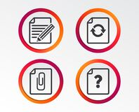 File edit icons. Question help signs. File refresh icons. Question help and pencil edit symbols. Paper clip attach sign. Infographic design buttons. Circle Stock Images