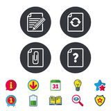 File edit icons. Question help signs. Royalty Free Stock Photos