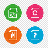 File edit icons. Question help signs. Royalty Free Stock Photo