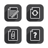 File edit icons. Question help signs. Royalty Free Stock Photography