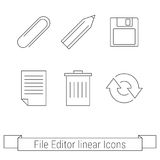File editor linear icons. Set of otline web icons, buttons file editor Stock Image