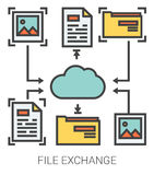 File exchange line icons. Royalty Free Stock Images