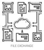 File exchange line icons. Royalty Free Stock Photography