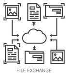 File exchange line infographic. File exchange infographic metaphor with line icons. Project file exchange concept for website and infographics. Vector line art Stock Images
