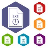 File EXE icons set. Rhombus in different colors isolated on white background Stock Images