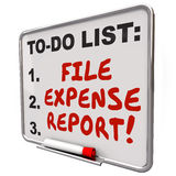 File Expense Report Words To Do List Reminder Board. File Expense Report words written on reminder board so you remember to submit receipts for payment Stock Photo