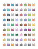 File extension flat vector icons. Archive, vector, audio, image, system, document formats Stock Photos