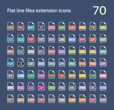 File extension flat vector icons. Sound, graphic, archive, picture, document, internet and system extensions Royalty Free Stock Images