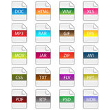 File extension icons. Set of twenty colorful file extension icons isolated on white background.EPS file available Stock Images