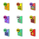 File extensions icons set, cartoon style. File extensions icons set. Cartoon illustration of 9 file extensions vector icons for web Stock Photos