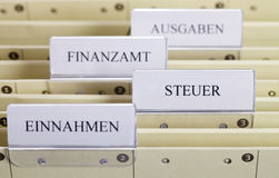 File Folder. Close up view of a german file folder for tax documents Stock Photos