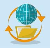 File folder around global. Vector illustration eps 10 Stock Photos
