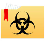 File folder with bio hazard sign Royalty Free Stock Photo