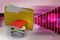 File folder with books. In white background Stock Photography