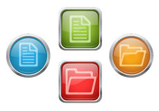 File and folder buttons. Set of vector glossy buttons with file and folder sign icons Royalty Free Stock Photography