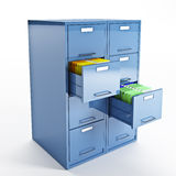 File and folder cabinet. 3d image of classic file cabinet on white Stock Photography
