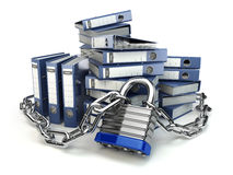 File folder and chain with lock. Data and privacy security. Info. Rmation protection. 3d Stock Photos