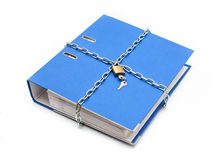 A file folder with chain and padlock closed Stock Image