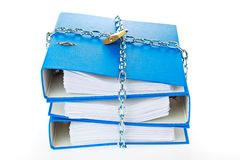 File folder closed with chain. A file folder with chain and padlock closed. privacy and data security Stock Photos