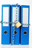 File folder closed with chain. A filing with chain and padlock closed. privacy and data security Stock Photography
