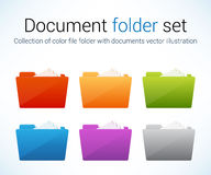 File folder collection. Collection of color file folders with documents, vector illustration, eps10 Stock Images