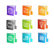 File Folder Colorful Icon Set. Vector Royalty Free Stock Images