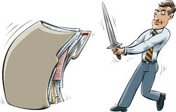 File Folder Combat. A cartoon businessman holds a large sword and faces a file folder Royalty Free Stock Image