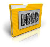 File folder with combination lock Royalty Free Stock Image