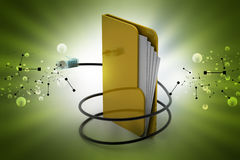 File folder with cord wire. In color background Royalty Free Stock Image