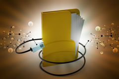 File folder with cord wire. [in color background Stock Photos