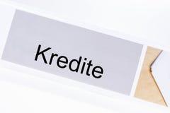 File folder credit Kredit in German language. On white background Royalty Free Stock Image