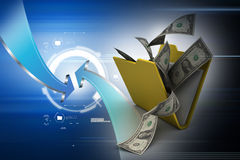 File folder with currency Stock Photo