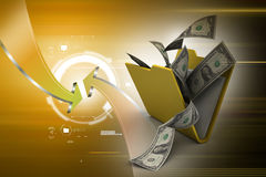 File folder with currency. In attractive color background Stock Images