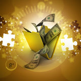 File folder with currency. In color background Stock Image