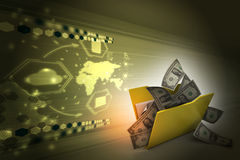 File folder with currency. In color background Stock Photo