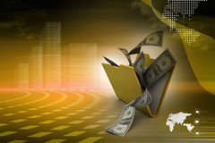File folder with currency. In color background Stock Photography