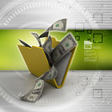 File folder with currency Royalty Free Stock Photography