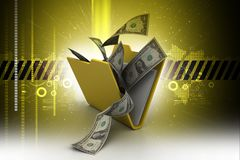 File folder with currency. 3d illustration of File folder with currency Royalty Free Stock Image