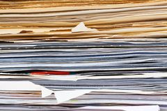 File folder with documents and documents. A file folder with documents and papers. Retention of contracts Royalty Free Stock Photo