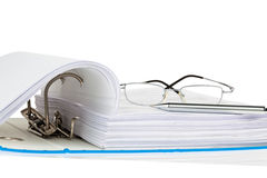 File folder with documents and documents. A file folder with documents and documents. retention of contracts royalty free stock photos