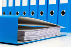 File folder with documents and documents. Retention of contracts stock image