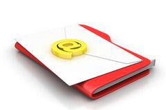 File folder with e-mail. In white background Stock Photo