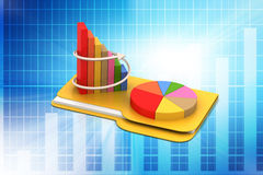 File folder with financial graph. In color background Royalty Free Stock Images