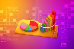 File folder with financial graph. In color background Royalty Free Stock Image