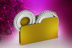 File folder with gear. In color background Royalty Free Stock Photos