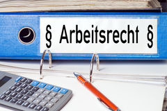 File folder. With the german words Labour Law Royalty Free Stock Photos