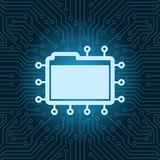 File Folder Icon Over Blue Circuit Motherboard Background. Vector Illustration Stock Images
