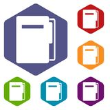 File folder icons set hexagon. Isolated vector illustration Stock Photography