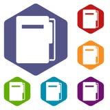 File folder icons set hexagon Stock Photography